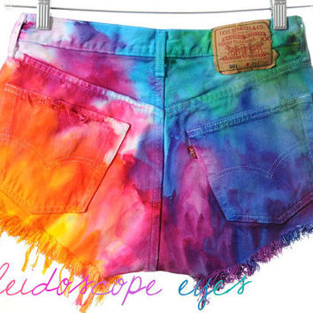 Etsy Transaction -          Vintage Levis 501 High Waist Rainbow MARBLED Dyed Denim Cut Off Shorts M