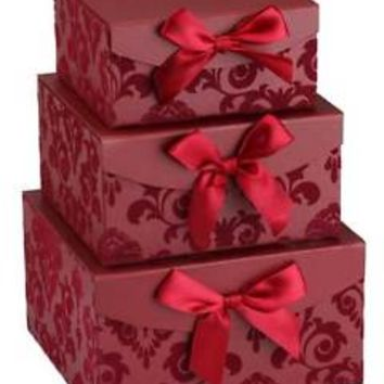 Red Swirl Nesting set of 3 Gift Boxes, Birthday /thanksgiving/Christmas gift