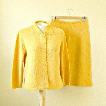 Vintage Hand Knit Suit, Sweater & Skirt Set, 1960s, Cardigan and Skirt, Mustard Yellow, Size Medium.