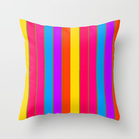 Long Happy Stripes #1 co.2 Throw Pillow by 2sweet4words Designs | Society6