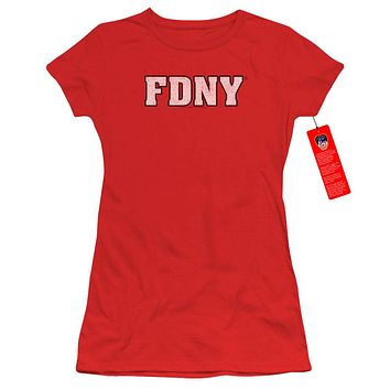 FDNY Juniors T-Shirt New York Fire Dept Logo Red Tee