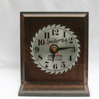 Sears Craftsman Steel Metal Saw Blade Shop Desk Clock Vintage Sears Roebuck and Company Work Shop Man Cave Bar