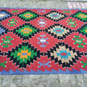 Red blue green Turkish Kilim Rug, Antique Colorful Kilim Rugs, Area Rug, kelim rug, 10x6 rugs, floor rug, area rug, living room