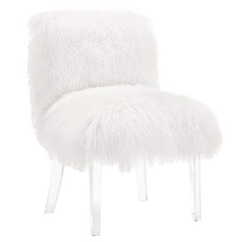 Sophie Sheepskin Lucite Chair