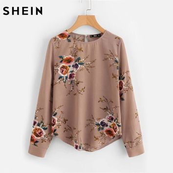 Flower Print Keyhole Back Curved Hem Blouse Autumn Women Blouses Long Sleeve Apricot Floral Work Wear Blouse