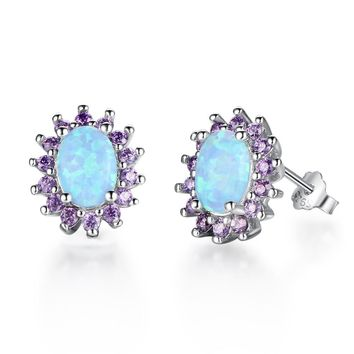 STYLEDOME Sun Flower Oval Created Opal Purple CZ 925 Silver Stud Earrings