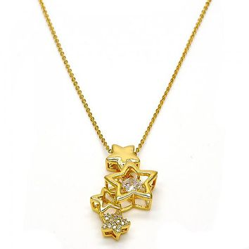 Gold Tone 04.213.0023.16.GT Fancy Necklace, Star Design, with White Cubic Zirconia and White Micro Pave, Polished Finish, Gold Tone