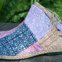 Womens Boots In Ethnic Hmong Pastel Batik Patchwork,  Vegan Ankle Boots - Amber
