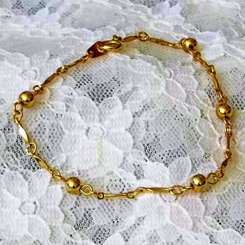 Vintage, Delicate, Gold Filled, Yellow Gold Chain, Bracelet, with Balls, Bars and Links, Gold Fill, Gift for Her, Birthday, Anniversary,