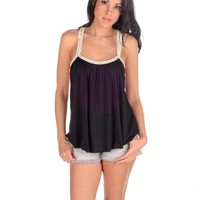 Vintage Havana Crochet Patch Tank - Black