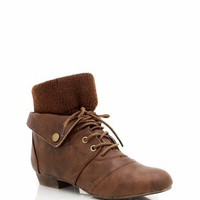 Tan Lace-Up Booties