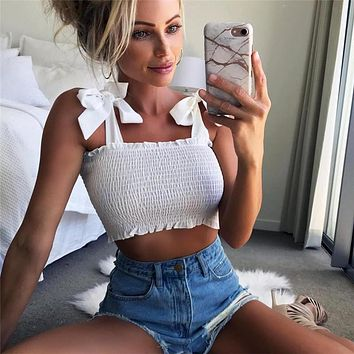 8baa2e66a72 2018 New Summer Autumn Tube Crop top Women Bow Tie Strap Ruched