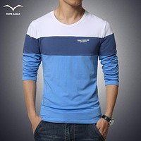 Men's Clothing Tops &Tees T-Shirts Free Shipping 2017 spring New Fashion Brand Men Solid Color Long Sleeve Slim Fit T Shirt