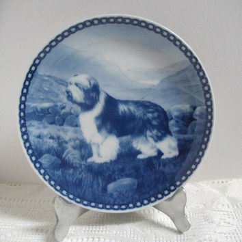 Vintage Denmark Plate Bearded Collie Tove Svendsen Collectible Dog Plate Porcelain Blue and White Original Hunde Platte