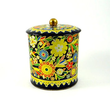 Vintage Daher Embossed Floral Tin from the 60s - 70s