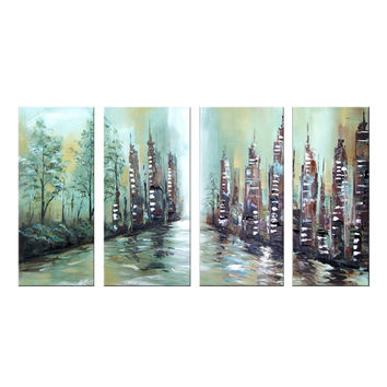 Modern Riverfront Cityscape Canvas Wall Art Oil Painting