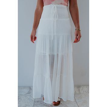Up The Coast Maxi Skirt: White