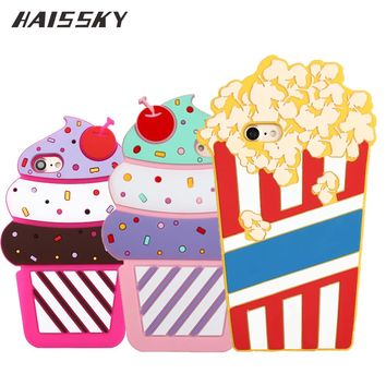 3D Cute Cherry ice Cream Silicone Case For iPhone 7 Plus 6 6s Plus 5 5s SE Rubber Lovely Summer Popcorn Cover Phone Accessories