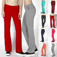 Full Length Foldover Yoga Athletic Flare Bottom Cotton Workout Leggings Pants
