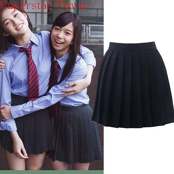 Japan School Girls Uniform Solid Pleated Mini Skirt Cheerleader Sailor Cos Lolita Skirt Women Saias Vestidos
