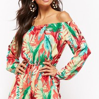 Foliage Print Off-the-Shoulder Romper