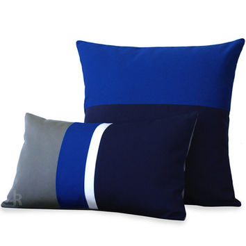 OUTDOOR Colorblock Pillow Set - Gray, Dazzling Blue, White & Navy - Modern Decor by JillianReneDecor - Summer Decor - Cobalt (Custom Colors)