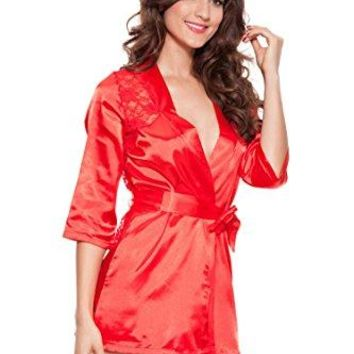 EFAK Womens Sexy Intimate Satin Lace Lingerie Robe wGString Pamajas