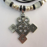 Ethiopian Coptic Cross Necklace with Ethopian Silver, Ghana Bone and Glass, Greek Ceramic, Leather and Silver Plate Clasp - 22 1/2""