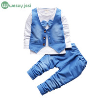 Boy clothes gentleman suit fashion baby boy clothes sets kid  long sleeves T-shirt+trousers suit children boys infant clothing