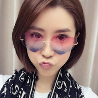 Heart Shaped Sunglasses WOMEN metal Reflective LENES Fashion sun GLASSES MEN sports Mirror oculos de sol NEW GM-30
