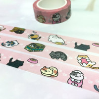 street Cat washi tape 10M x 1.5CM kawaii cat cartoon cat pink washi masking tape flower pussy cat sticker lazy cat planner diary meow gift
