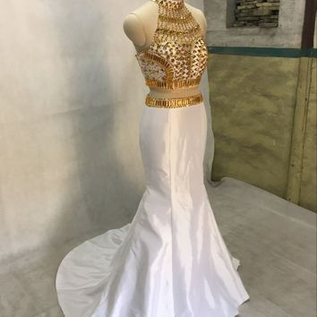 Gold beads Mermaid prom dress two piece evening gown High Neck Beaded Bodice Taffeta 2 Piece Prom Dress Sexy Gown