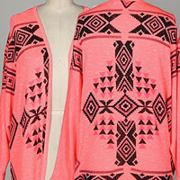 Neon Pink and Black Aztec Open Cardigan