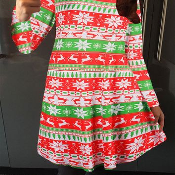 Deer And Star Printed Long Sleeve Mini Dress