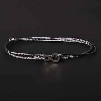 Infinity Bracelet - Gray cord men's bracelet with black clasp