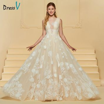 Dressv Long Wedding Dress Scoop Neck Court Train Sleeveless Button Lace Flowers Elegant Custom Church Garden Wedding Dress