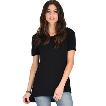 BLACK SIDE SLIT TUNIC TOP