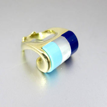 Unique Italian Gemstone Ring. Modernist Sterling Silver Gold Vermeil Carved Multi Gemstone Ring. Three Stone Ring