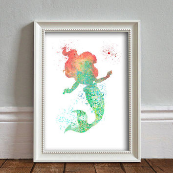 Ariel, The Little Mermaid WATERCOLOR Splash Art , Disney Inspired Princess, Wall Art, Nursery, Digital Poster Print, INSTANT DOWNLOAD