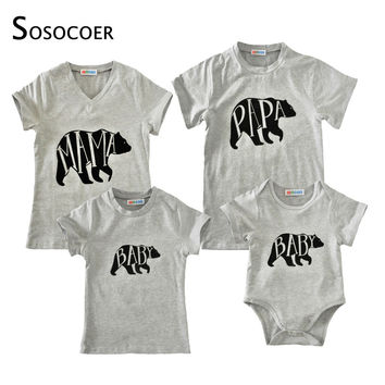 Family Matching Clothes Mother Daughter Father Baby T Shirt Romper Summer 2017 Cartoon Bear Papa Mama Baby Kids Outfits