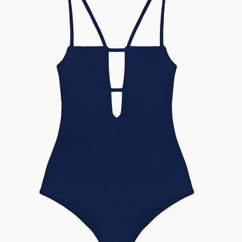 Tali Front Cut-Out One Piece Swimsuit - Navy Blue