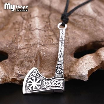 My shape Slavic Talisman Anqitue Silver Plated Kolovrat Sun Wheel Amulet Vintage Knots Viking Axe Pendants Norse Wax Necklace