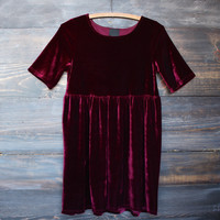 velvet babydoll dress in grunge wine