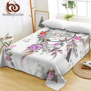 BeddingOutlet Dreamcatcher Bed Sheets One Piece Floral Chic Flat Sheet Soft Bedding Bohemian Girls Bedspreads sabanas Twin Queen