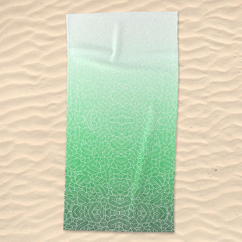 Ombre green and white swirls zentangle Beach Towel by Savousepate
