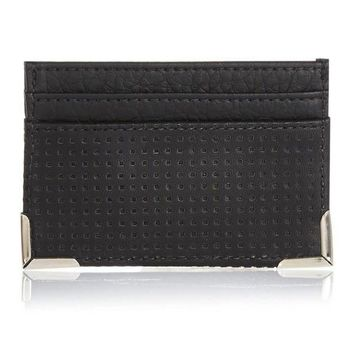 Perforated Vegan Leather Card Wallet