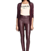 Burgundy High-rise Waist Leather Look Leggings