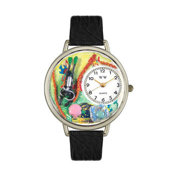 Whimsical Watches Designed Painted Scuba Diving Black Skin Leather And Silvertone Watch