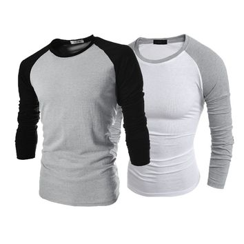 Men Long Sleeve T-Shirt Plain Cotton Tee Casual Top  Shirt
