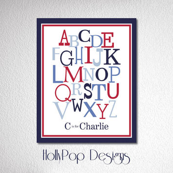 Nursery Wall Decor Alphabet Typography Art Print Baby Boy Bedroom Childrens Art Wall Decor for Kids Alphabet Poster Blue Red Nursery Bedroom
